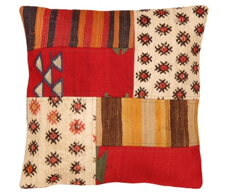 "19"" x 19"" Kilim Pillow Cover, Stripes & Dots  made by Style from the Souk."