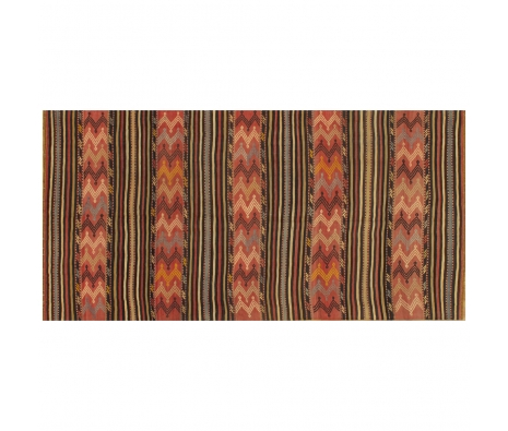 5' x 10' Kilim, Stripes Rug, Black/Brown made by Style from the Souk.