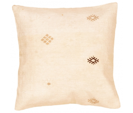 "19"" x 19"" Kilim Pillow Cover, White Flower made by Style from the Souk."