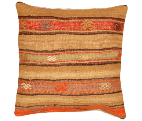 "19"" x 19"" Kilim Pillow Cover, Tan Stripes  made by Style from the Souk."