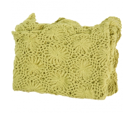 Cashmere & Olefin Hand Crocheted Throw, Green Oasis made by Cashmere Heaven.