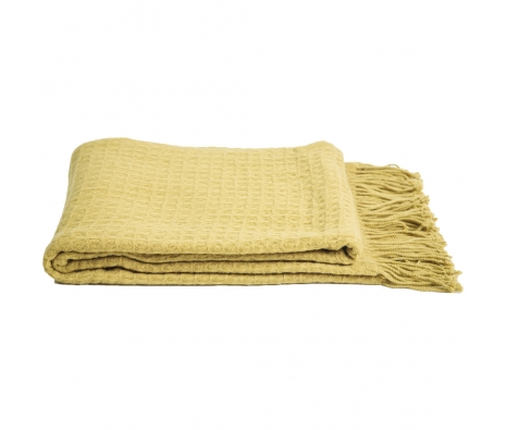 Cashmere & Wool Waffleweave Throw, Celery made by Cashmere Heaven.