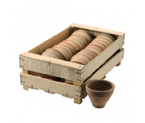Set of 24 Mini Clay Pots in Wood Crate made by Barreveld.
