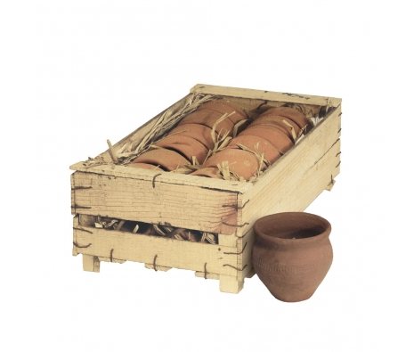 Set of 12 Clay Pots in Wood Crate made by Barreveld.