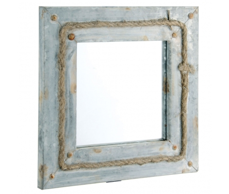 Zinc Framed Square Mirror with Jute Rope made by Barreveld.