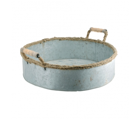 Set of 3 Zinc Round Trays with Jute Rope  made by Barreveld.