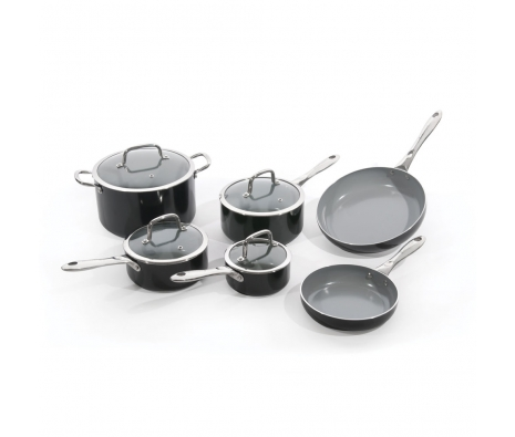 10 Piece Non-Stick Aluminum Cookware Set made by bergHOFF Worldwide .
