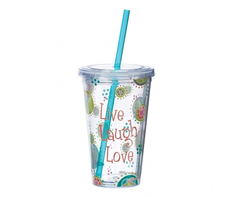 Set of 2 Live Laugh Love Tumblers W/Straw made by Back to School Gadgets.