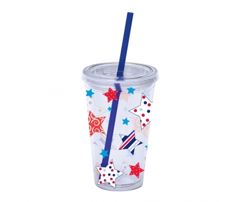 16oz. Patriotic Insulated Tumbler w/ Straw made by 4th of July Entertaining .