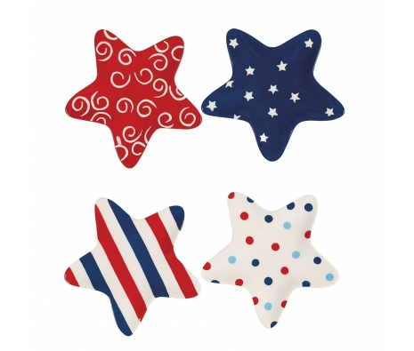 Patriotic Star Shaped Plates, Set of 4 made by 4th of July Entertaining .