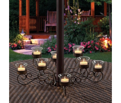 Holdrege 8-Votive Umbrella Light made by Backyard Votives.