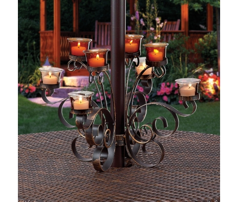 Osmond 8-Votive Umbrella Light made by Backyard Votives.