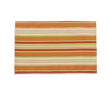 S/4 Getaway Stripe Placemats, Apricot made by Tabletop Decor.