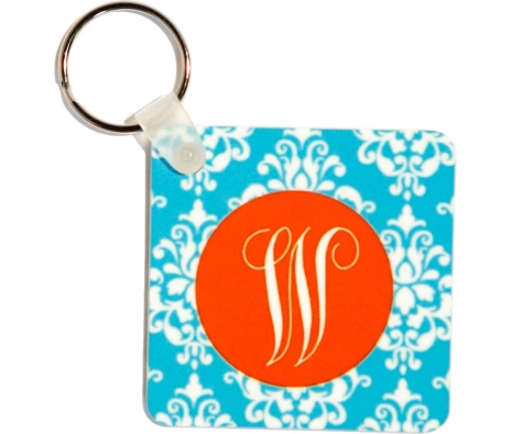 W Key Chain, Blue Damask  made by Clairebella.