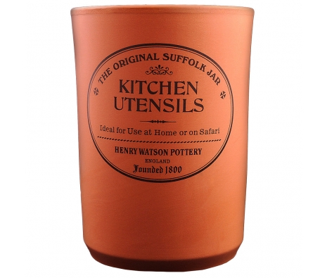 Terracotta Utensil Jar made by Henry Watson English Kitchenware .