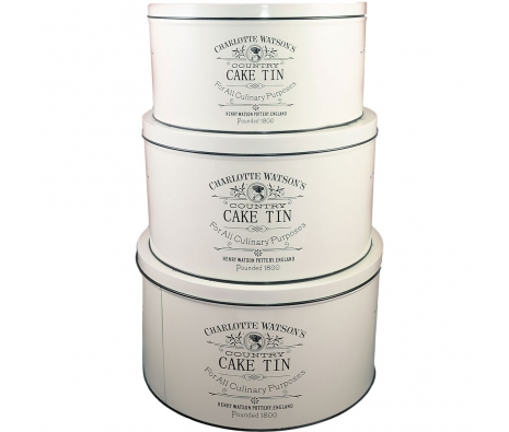 Charlotte Watson Cake Tin Set made by Henry Watson English Kitchenware .