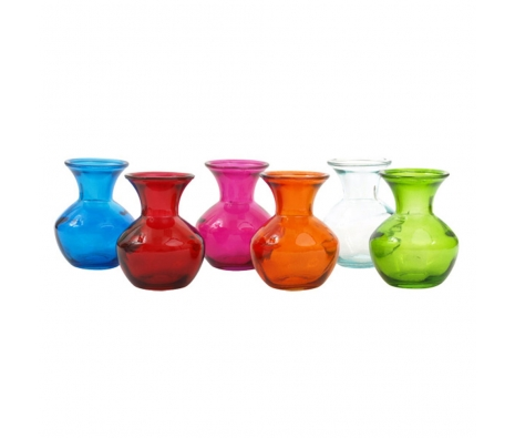 Assorted Milan Vases, Set of 6 made by Colorful Glass Accessories .