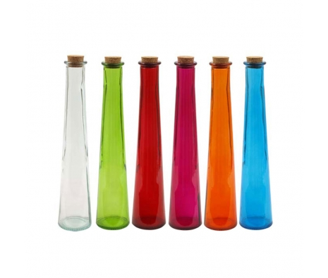 Assorted Tapered Glass Bottles, Set of 6 made by Colorful Glass Accessories .