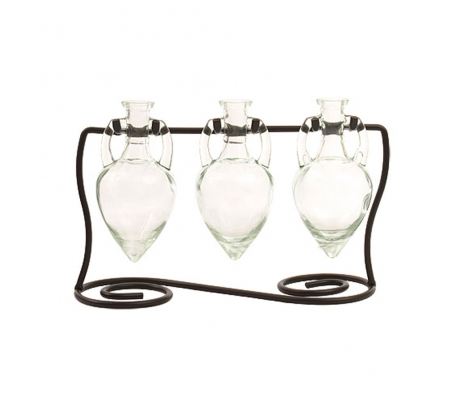 Amphora Vases with Metal Stand, Clear made by Colorful Glass Accessories .