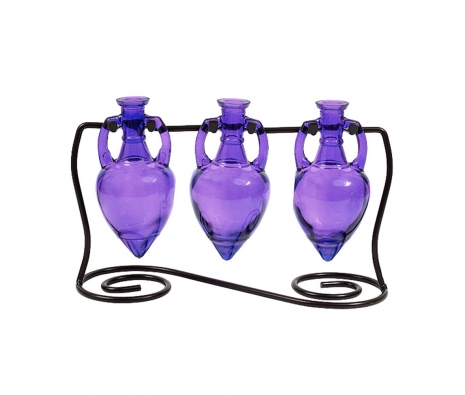 Amphora Vases with Metal Stand, Violet made by Colorful Glass Accessories .