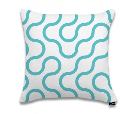 "17""x17"" Circuit Pillow, Cyan made by DQtrs."