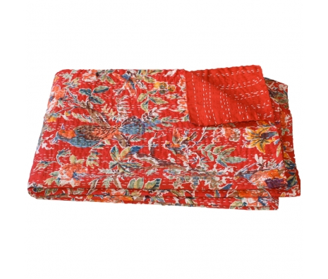 Hand-Stitched Victoria Throw made by Vintage Sari Pillows, Throws, Totes & Rugs..