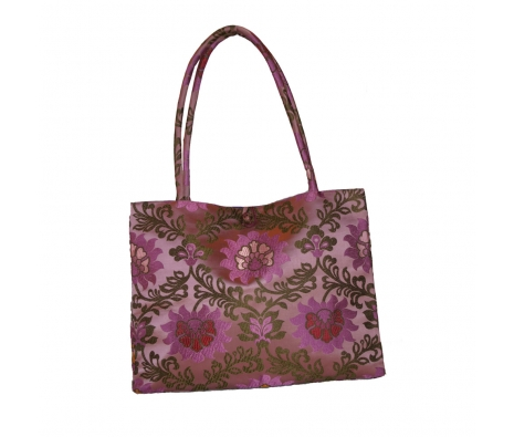 Silk Tote, Purple Lotus made by Chinoiserie Chic Giftables.