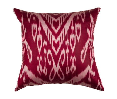 Burgundy Silk Ikat Pillow made by Silk Ikat Pillows.