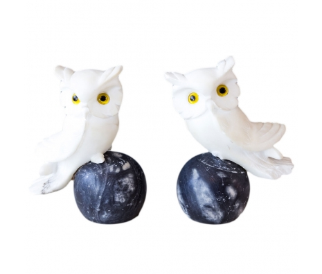 Pair Of Marble White Owl Bookends made by Vintage Exclusives by House of Honey .