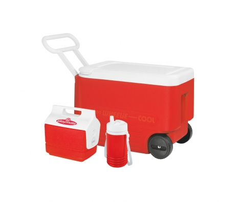 38 Qt. Wheelie Cooler with Playmate Mini and Pitcher made by Outdoor Adventures.