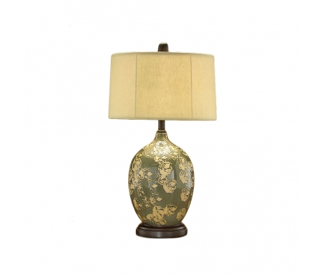 Green and Cream Porcelain Lamp made by John Richard Lamps .