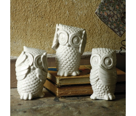 Hear No, See No, Speak No Evil Owls, Set of 3  made by Charming Accessories For Any Space.