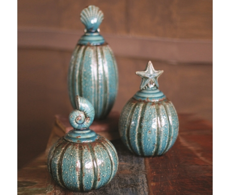 Oceanic Canisters, Turquoise, Set of 3 made by Charming Rustic Accents.