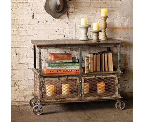 Iron and Wood Rolling Console made by Charming Accessories For Any Space.