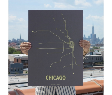 "18"" x 24"" Chicago Screen Print, Dark Gray/Yellow made by Lineposters."