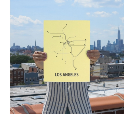 "12"" x 16"" Los Angeles Screen Print, Pale Yellow/Gray made by Lineposters."