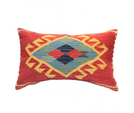 Mafrash Kilim Pillow, Red/Blue made by Turkish Inspired Kilims, Baskets & More.