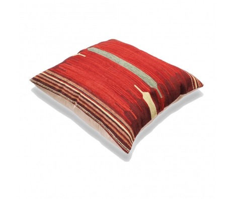 Charkhi Kilim Floor Pillow, Crimson made by Turkish Inspired Kilims, Baskets & More.