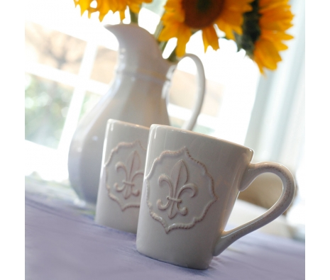 S/6 Fleur-de-lis Mugs made by Mesa Home.
