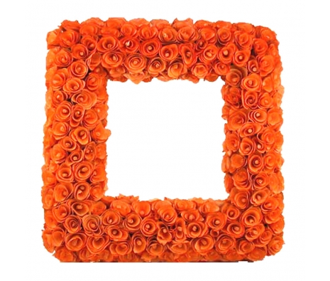 "Wood Curl Frame 19"" Tangerine made by Mills Floral ."