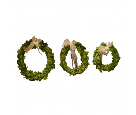 3 Piece Set Round Preserved Boxwood Wreath  made by Mills Floral .