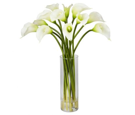 Mini Calla Lily Silk Flower Arrangement, Cream made by Summertime Florals .