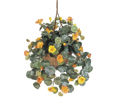 Silk Nasturtium Hanging Basket, Yellow made by Summertime Florals .