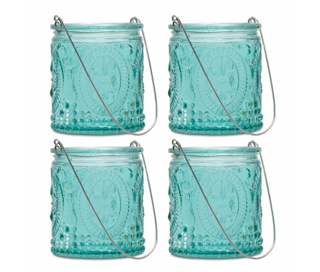 Teal Fleur-de-Lis Hanging Tealight Holder, S/4 made by Aromatic Candles & Candleholders by Northern Lights .