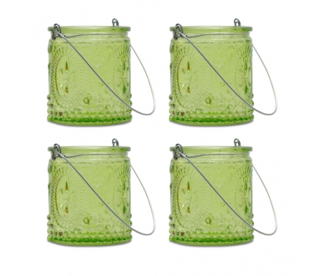 Green Fleur-de-Lis Hanging Tealight Holder, S/4 made by Aromatic Candles & Candleholders by Northern Lights .