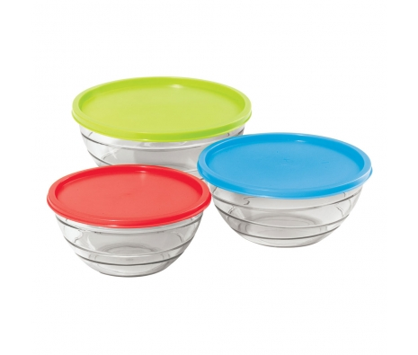 Clear Round Bowl 3 Pc. Set  made by Colorful Kitchen .