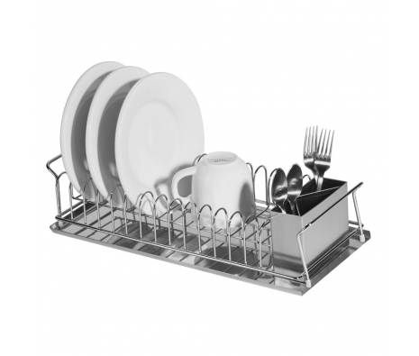 3-piece Stainless Steel Dish Drain Set, Holds up to 13 Plates made by Bath Essentials by Oggi .