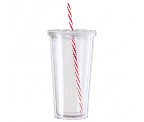 20 oz. Double Walled Acrylic Tumbler W/Striped Straw, Set of 2, Clear/Red made by Drinks On The Go .