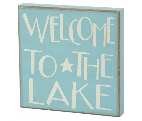 Welcome to the Lake Box Sign made by Beach Waves.