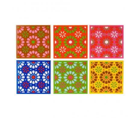 Ceramic Flower Coasters, Set of 6 made by Summertime Entertaining .